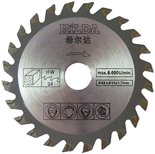 Hoja de sierra circular para Worx WU 420, WX 422, WX 423, WX 426, WX 523 85 mm x 15 mm x 24T Hoja de sierra circular de corte de madera