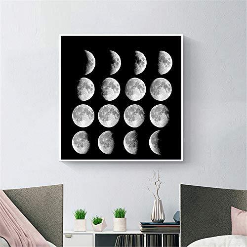 JNZART Mond Poster Schwarz und Weiß Wandkunst Mond Malerei Leinwanddruck Wandbilder für Wohnzimmer Dekoration Home Bilder Decor A 40x40CM