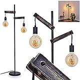 Aarhus - Lámpara de pie de madera envejecida y metal negro, lámpara retro de 150 cm de alto, ideal para salón vintage, con interruptor en cable, para 2 bombillas E27 de 60 W y compatible con LED