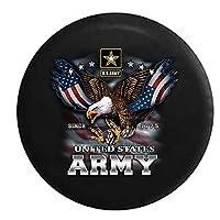 American Unlimited アメリカ陸軍 USA スクリーミングイーグル ミリタリースペアタイヤカバー ブラック 35インチ