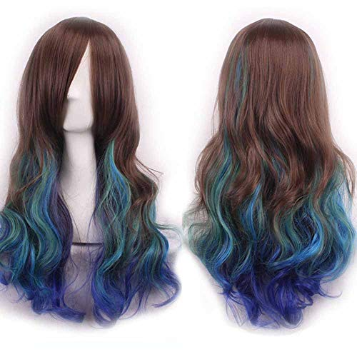 Women's Long Curly Wave Cosplay Party Pruiken haarstukjes Cap Lolita Style Anime Wig Hittebestendige synthetische pruiken 28 inch
