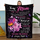TURMTF Personalized Throw Blanket to My Mom Gifts from Daughter-I Love You Christmas Birthday Thanksgiving Gifts Flannel Bed Sofa Blanket (to Mom,Daughter)