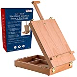 U.S. Art Supply Antigua Adjustable Wood Table Sketchbox Easel, Premium Beechwood - Portable Wooden Artist Desktop Storage Case - Store Art Paint, Markers, Sketch Pad - Box for Drawing, Painting