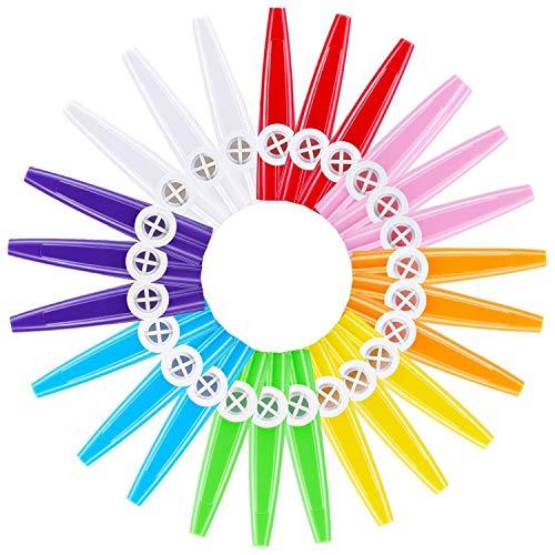 RETYLY 24 Stücke Kunststoff Kazoos 8 Bunte Kazoo Musikinstrument, Guter Begleiter Für Gitarre, Ukulele, Violine, Klavier Tastatur, Gro?es Geschenk Für Musik Liebhaber (24 Stück)