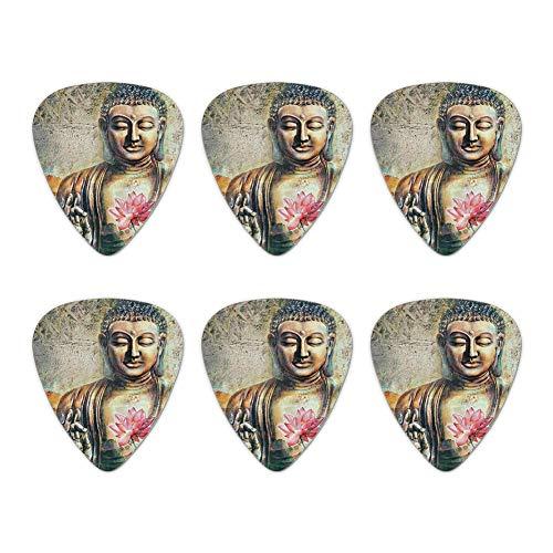 Buddha Pink Lotus Flowers Serenity Novelty Guitar Picks Medium Gauge - Set of 6