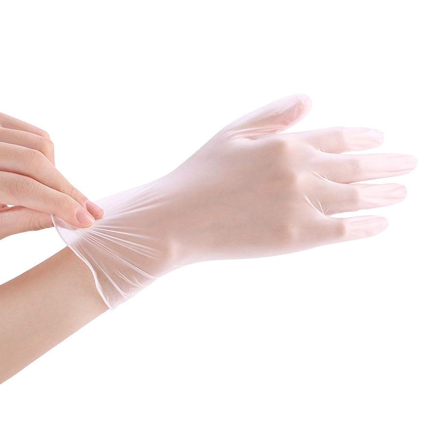 壮大な望ましい雇った使い捨て透明食品ケータリンググレードPVC手袋美容キッチンベーキングフィルム手袋200 YANW (色 : トランスペアレント, サイズ さいず : L l)