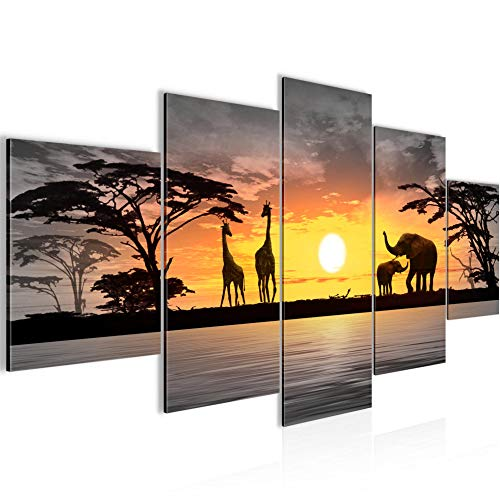 Afrika Sonnenuntergang Bild Vlies Leinwandbild 5 Teilig Panorama Rosa Grau Schlafzimmer Flur 000253c