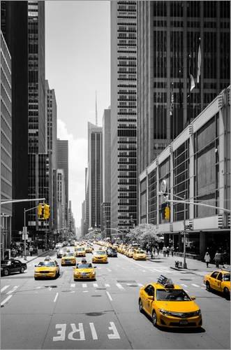 Posterlounge Acrylglasbild 60 x 90 cm: New York Yellow Cabs von Michael Haußmann - Wandbild, Acryl Glasbild, Druck auf Acryl Glas Bild