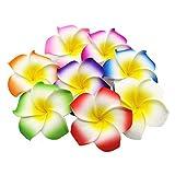 100個セット 混合色 スポンジ プルメリア 造花 ハンドメイド ホワイト イエロー お花 DIY手作業 結婚式 パーティー用 飾り付け アクセサリー 5cm