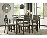 Signature Design by Ashley Rokane Dining Room Table Set with 6 Upholstered Chairs, Brown