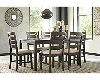Signature Design by Ashley Rokane Dining Room Table Set with 6 Upholstered Chairs Brown
