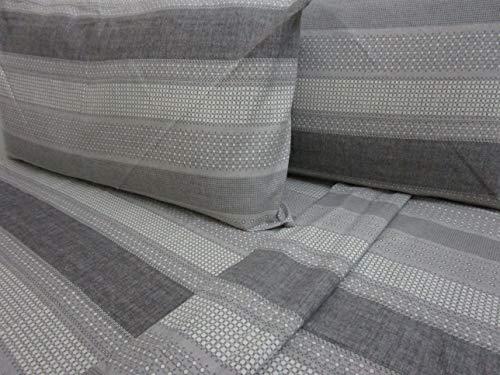 PAGO POCO Bettwäsche-Set für Einzelbett aus Flanell, geometrisches Design, Farbe: Grau, Bettlaken 150 x 280 cm + 1 Spannbettlaken 90 x 200 + 25 cm + 1 Kissenbezug 52 x 82 + 13 cm.