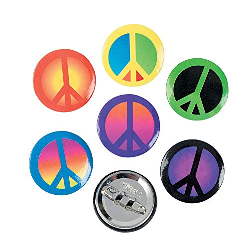 Fun Express - Peace Sign Mini Buttons - Jewelry - Pins - Novelty Buttons - 48 Pieces