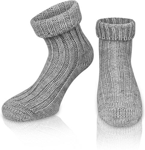 normani 2 Paar Sehr Warme weiche Umschlag Söckchen mit Alpaka Wolle/Bettsocken/Sauna Socken Farbe Hellgrau Größe 43-46