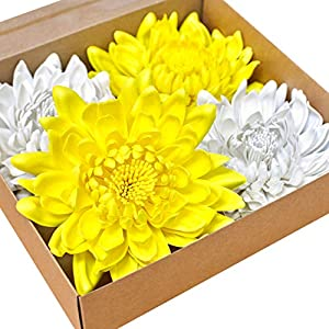 Kira Home 6.5″ 4-Pack Artificial Flowers, Yellow and White Chrysanthemums, Real Looking Fake Flowers for DIY Projects – Wedding, Baby Shower, Home Decor + Charming Gift Box