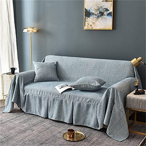 Manta del tiro del sofá, cubierta de la silla del sofá a prueba de polvo de chenilla Sillón Cama Sofá Cojín Toalla para Sofá Sofá Cama Viaje,Azul,200 * 300cm