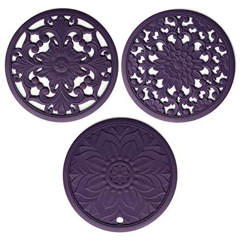 fedsjuihyg Mat Bandeja s salvamanteles Pot cojín de Cocina de Silicón Tallado por encimera Antideslizantes Flexibles 3PCS púrpura bandejas de Cocina