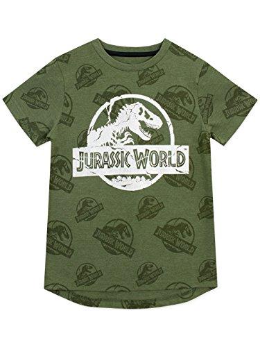 Jurassic World Maglietta a Maniche Corta per Ragazzi Logo Verde 8-9 Anni