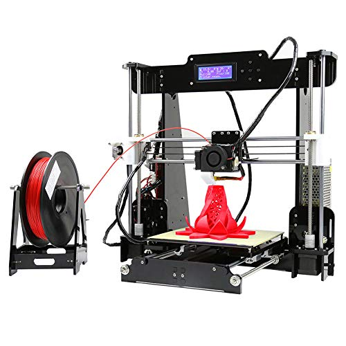 3D Printer ANET A8 Auto Leveling Desktop 3D Printer DIY Kit Self-Assembly Acrylic Frame LCD Screen Display + 8GB SD Card, Printing Size 220 * 220 * 240 Mm