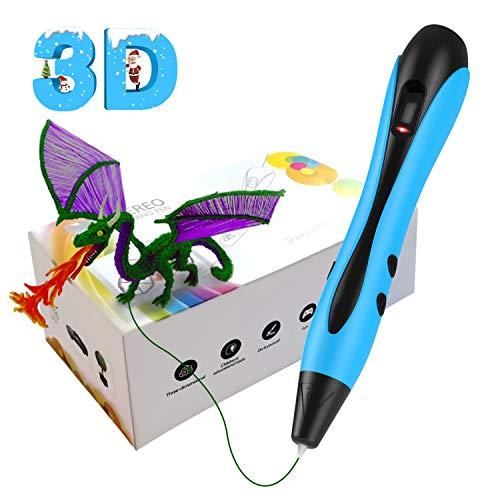XINGHE Pluma de Impresión 3D, Pluma 3D con Pantalla LCD, 12 Colores PLA, Lápiz 3D Compatibles PLA e ABS Filamentos, Cumpleaños y Navidad para Niños y Adultos (Azul)