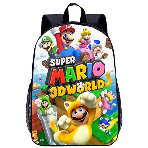 BATEKERYAS Mochila Escolar para Niños con Patrón De Dibujos Animados 3D Super Mario