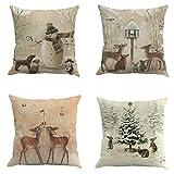 Fundas de cojín de lino para Navidad, 4 fundas de almohada, gran decoración de Navidad, suave y cómoda, mano de obra fina