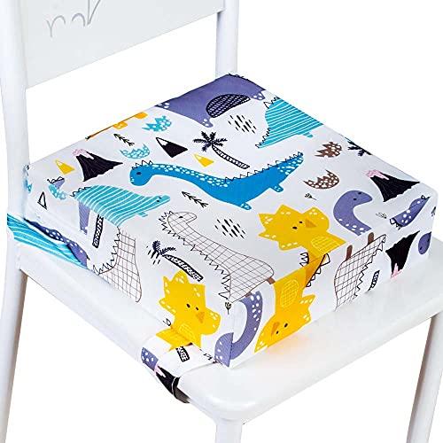Chair Increasing Cushion - Toddler Kids Portable Dismountable Highchair Cushion Washable (Dinosaur, White)