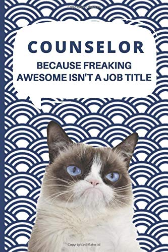 Medium College-Ruled Notebook, 120-page, Lined | Best Gift For Counselor | Present For Grumpy Cat Fan or Camp or School Counseling Goals: Motivational ... College Student Work, Job, Tracking Goals |