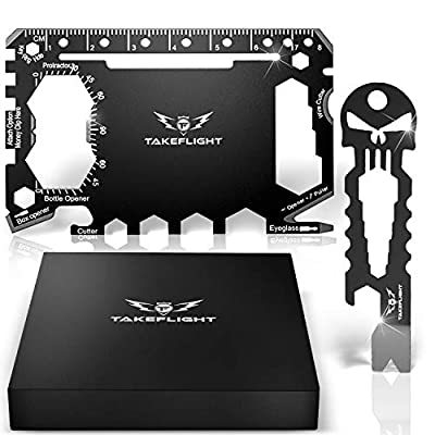 Credit Card Tool Gift Set - Tactical Pocket Tool Gadgets for Men | EDC Keychain - Wallet Multitool Giftset with Pocket Survival Tools - Multi Tool Accessories in Gift Box from TF TakeFlight