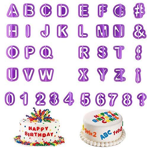 Guanici Alphabet Buchstaben Ausstecher Fondant Ausstecher Set DIY Ausstecher Zahlen Ausstecher für Torten-Deko Premium Backzubehör Modellierwerkzeug für Kuchen,Torten und Cupcakes 40 Stück (Lila)