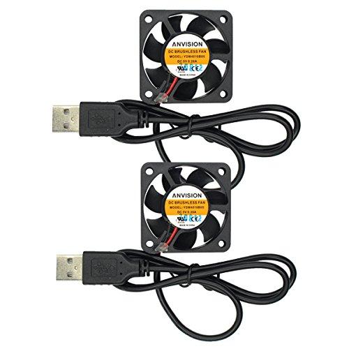 ANVISION Paquete de 2 ventiladores de refrigeración sin escobillas de 40 mm x 10 mm 4010 con doble rodamiento de bolas DC 5 V USB, YDM4010B05