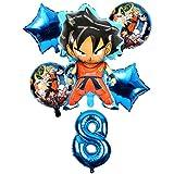HCHD 6pcs / Set de Dibujos Animados Dragon Ball Goku Hoja hincha 32 Globo Número Pulgadas Conjunto Fiesta del Feliz cumpleaños Decoración Niños Campus Party Juguete (Color : Violet)