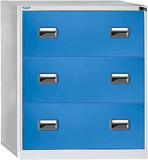 OFFICE AKKTIV Classeur pour dossiers suspendus - 2 rangées, 3 tiroirs - gris clair / bleu clair - archivage armoire armoir...