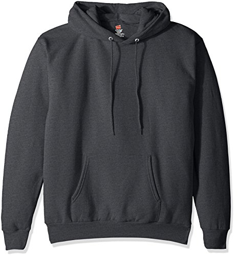 Hanes Men's Pullover Ecosmart Fleece Hooded Sweatshirt, Charcoal Heather, L Delaware