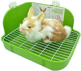 RUBYHOME Rabbit Litter Box Toilet, Plastic Square Cage Box Potty Trainer Corner Litter Bedding Box Pet Pan for Small Animals, Rabbits, Guinea Pigs, Chinchilla, Ferret, Galesaur, 11.4 Inches
