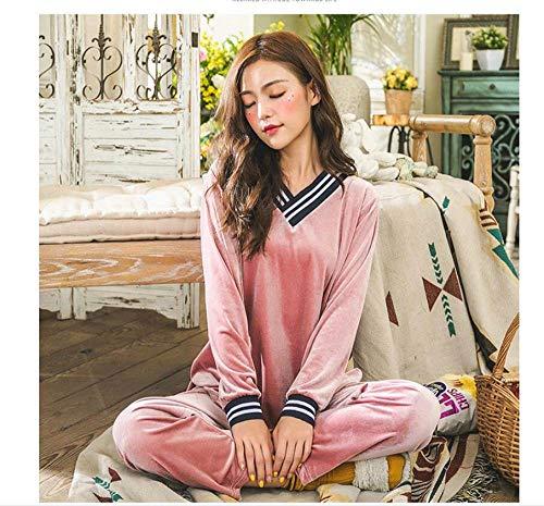YUHOOE Damen-Pyjama,2 Stück Gold Samt Frühling Herbst Sommer Warme Pyjamas Set Frauen Schlaf Set TiefPyjamas Nachtwäsche Langarm Homewear Nachtwäsche Pink, XL