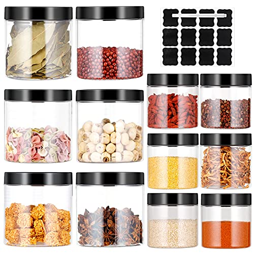 12pc Botes Cocina, Tanque de Almacenamiento de Transparente Plástico con Tapa, Juego de Recipientes Herméticos sin BPA, Set de Tarros de Alimentos con Etiquetas y Bolígrafo(3.6L)