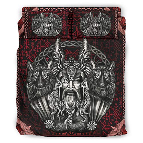 Haythan Camas Viking Odin and His Wolf - Juego de cama (4 piezas, 175 x 218 cm), color blanco