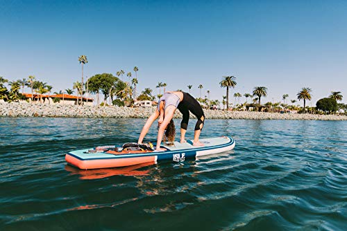 """ISLE 11' Scout - Inflatable Stand Up Paddle Board - 6"""" Thick iSUP and Bundle Accessory Pack - Durable and Lightweight - Stable Wide Stance - Up to 240 lbs Capacity (Aqua, 10'6')"""