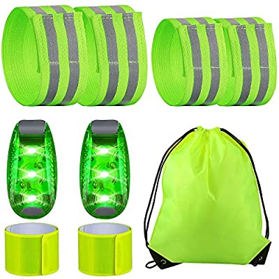 6 Pieces Visibility Reflective Band 2 Pieces Safety LED Light with 1 Storage Bag, Safety Reflective Strap Bracelet Reflective Wrist Armband Elastic Running Gear for Women Men Night Walking Cycling