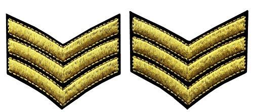 Toppa ricamata per uniforme militare, grado di sergente, da spalla, termoadesiva o da cucire gold