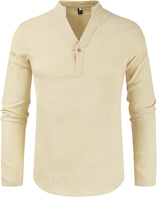 Mens Henley Shirt, Plus Size Cotton Linen Button Up Shirts Beach Tops Casual Long Sleeve Lightweight Plain Tees