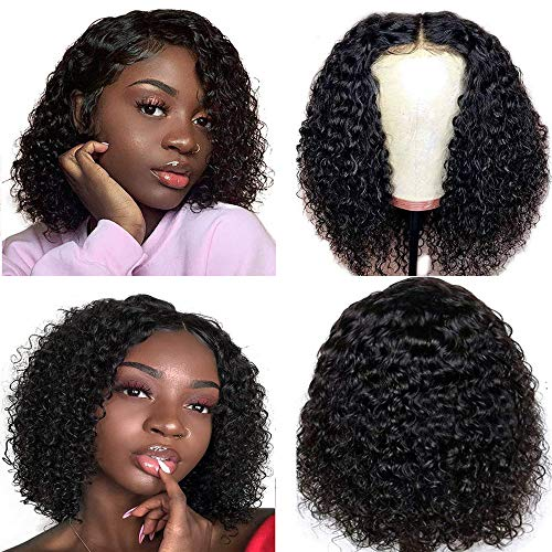 Ainmeys short bob wigs 4x4 lace closure wigs brazilian curly wave Lace Front wigs human hair curly bob wigs for black women 150% Density Pre Plucked with bady hair (10inch, 4x4 lace closure)