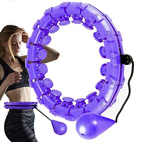 Jooayou Smart Fitness Hoop Reifen, Niemals Fallen Hula Hullahub Reifen für Anfänger Kinder Übung Gewichtsreduktion 24 Knoten Abnehmbare Verstellbare Größe Massage Abdomen Taille - Lila