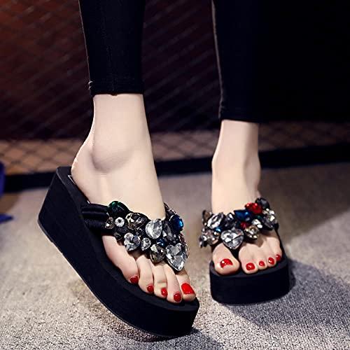 zuecos sanitarios mujer originales,Chanclas de diamantes de verano de verano, use zapatos de playa de moda de vacaciones afuera, linda y versátil pendiente junto al mar con chanclas de fondo grueso-4