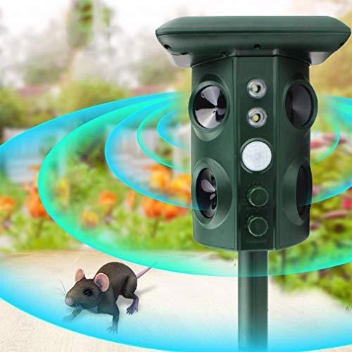 WMNRNYD Repelente de Animales ultrasónico Solar Impermeable al Aire Libre con Sensor de Movimiento de Sonido ultrasónico y luz Intermitente para Gatos, Ardillas, Lunares, Perros, Ratas, etc.