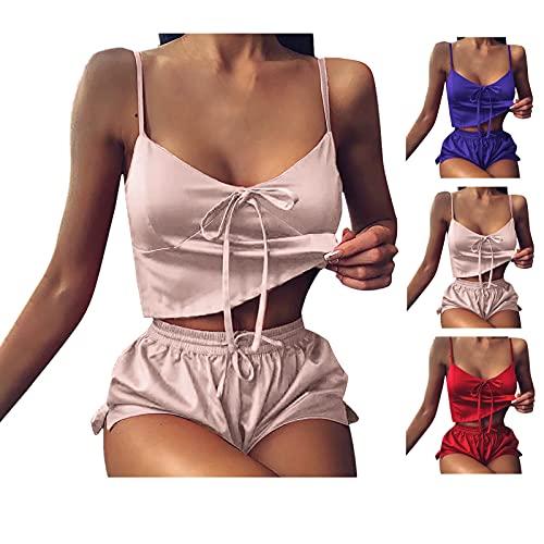 koperras Damen Sexy Schlafanzug Set Dessous Nachtwäsche Hausanzug Frauen Slim Fit Ärmellos Kurz Satin Pyjama Hose Sleepwear für Sommer Sport Yoga Fitness Workout Freizeitanzug Zweiteiliger