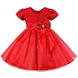 Toddler Girls Christmas Party Dress Bow Elegant Brilliant Tulle Lace Bridesmaid Wedding Dress L006_Red-4