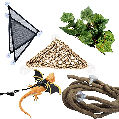 ZZWRFM Bearded Dragon Accessories Lizard Hammock Jungle Climber Vines Flexible Leaves Habitat Reptile Decor for Climbing, Bearded Dragon Hammock,Chameleon, Lizards, Gecko, Snakes