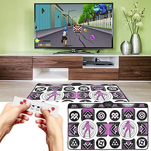 Vogvigo Alfombra de danza doble, antideslizante y sensible, manta de danza inalámbrica para videojuegos de TV/PC, Plug and Play con USB, alfombrilla de danza de música para hacer ejercicio
